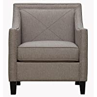 Tov Furniture The Asheville Collection Elegant Modern Linen Fabric Upholstered Wood Living Room Accent Arm Chair, Light Gray