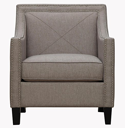Tov Furniture The Asheville Collection Elegant Modern Linen Fabric Upholstered Wood Living Room Accent Arm Chair, Light ()