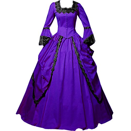 I-Youth Womens Lace Marie Antoinette Masked Ball Victorian Costume Dress (XL, Purple) -