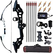 """JINGYUN Archery 51"""" Takedown Recurve Bow and Arrows Set for Adults,Right Hand Straight Bow for Beginner,M"""