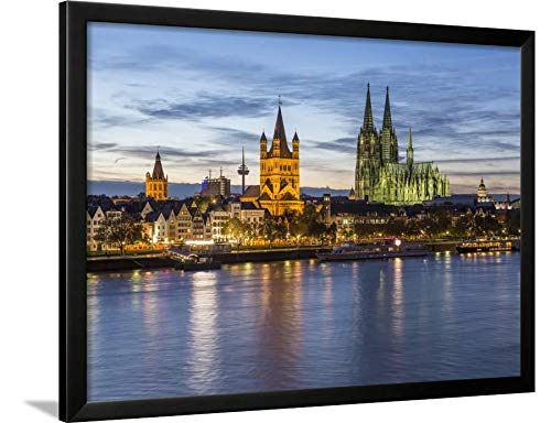 ArtEdge River, Cathedral (Dom), Cologne (Koln), North Rhine Westphalia, Germany by Gavin Hellier, Black Wall Art Framed Print, 24x32, Unmatted (River Framed Rhine)