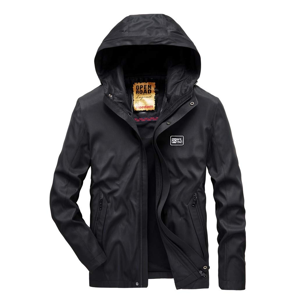 VZEXA Mens Coat Autumn Hooded Waterproof Quick-Drying Breathable Sport Outerwear Black by VZEXA