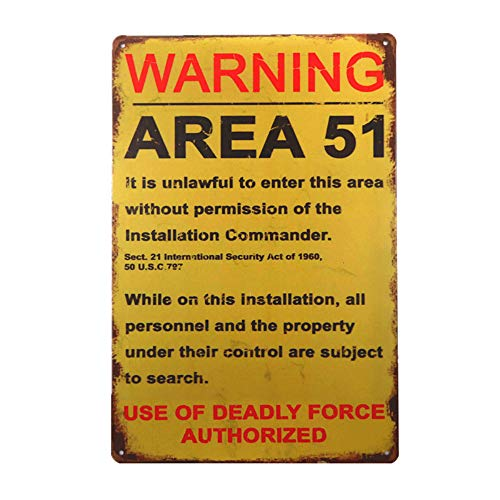 dingleiever-Funny Decorations Vintage Warning Signs Area 51 Garage Poster Art Wall Decor -