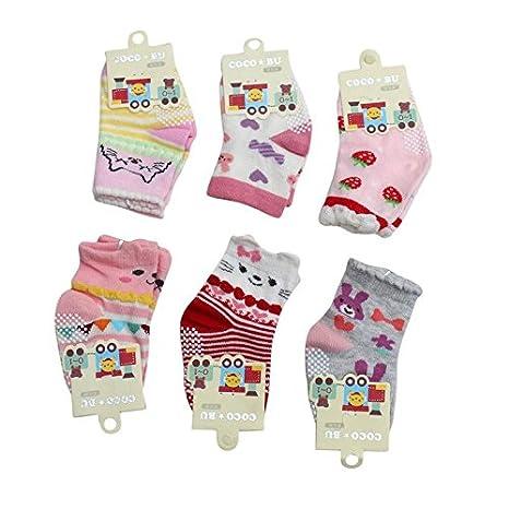 899ef6e868d Born Baby Girl Cotton Socks Fancy Cotton Socks Grip Cotton Socks Colorful  Cotton Socks Booties Infant Girl Socks 0-3 Month Pack of 6  Amazon.in  Baby