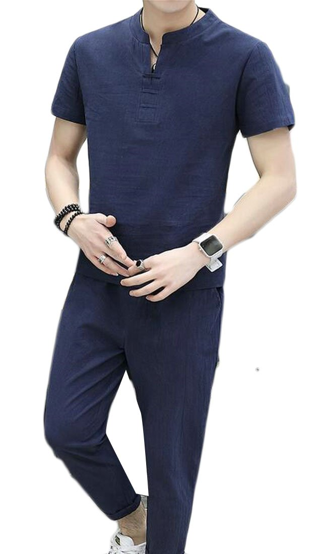 UUYUK Men Linen Solid Color Short Sleeve T-Shirt & Pants Outfit 2 Pieces