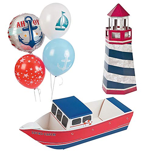 Fun Express Nautical Party Decor Bundle | Latex & Mylar Balloons, Centerpiece, Snack Tray | Great for Baby Shower, Boys Birthday Party, Navy Themed Party, Sailor Party -
