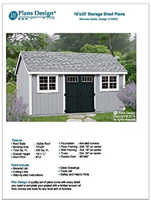 Building Blueprints Shed Plans 10' x 20' Reverse Gable Roof Style Design # D1020G, Material List Included by Plans Design