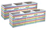 Sorbus Foldable Storage Cube Basket Bin - Great for Nursery, Playroom, Closet, Home Organization (Chevron Multi-Color, 6 Pack)