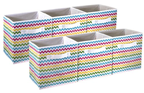 Sorbus Foldable Storage Cube Basket Bin - Great for Nursery, Playroom, Closet, Home Organization (Chevron Multi-Color, 6 Pack) (Drawers Garden Storage)