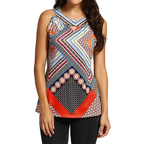 Mlb Sleeveless - Boho Tank Tops, FORUU Women Retro Geometry Sleeveless Bohemia Tops Vest Camisole (XL, Multicolor)