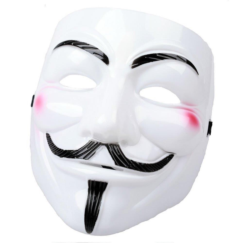 AStorePlus V for Vendetta White Men Mask, Cosplay Guy Fawkes Mardi Gras Party Mask Halloween Costume Accessory
