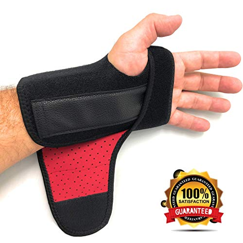 Splint Removable (#1 Carpal Tunnel Wrist Brace Support by MONALE – Night & Day Use– Tendonitis – Arthritis – with Removable Splint & Adjustable Support Straps – Right & Left Hand Available - Left (Black/Inside Red))