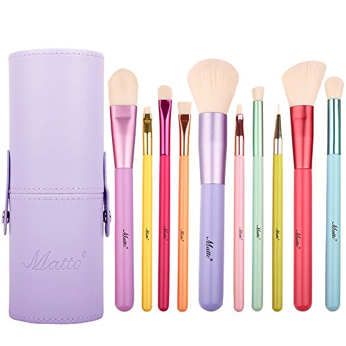 10-Pieces Colorful Wood Handles Synthetic Hairs Makeup Brush Set with Cosmetic Brush Holder ()