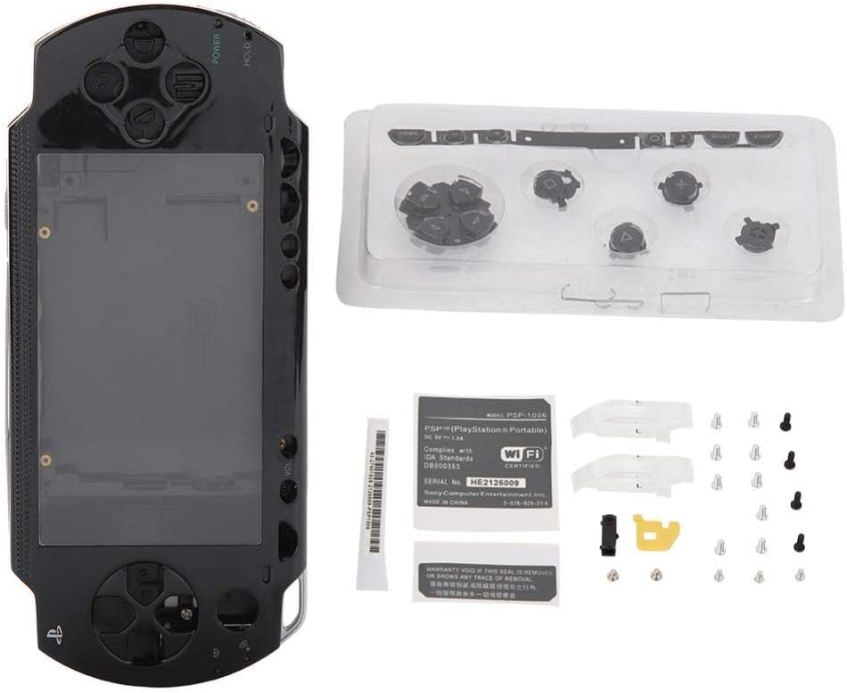 Diyeeni Full Housing Shell Case Repair Replacement Housing Set with Buttons Kit Compatible for Sony PSP 1000 Playstation Portable 1000 Core Game Console(Black): Electronics