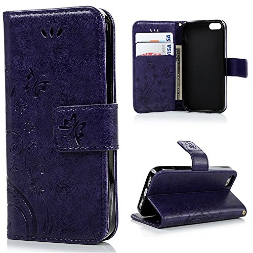 Cyber Monday Deals Week-For iPhone 5S,iPhone 5 Case, iPhone 5S Case, easygogo Premium Vintage Emboss Butterfly Leather Wallet Pouch Case with Wrist Strap (iPhone 5/5s, Romantic Purple)]()