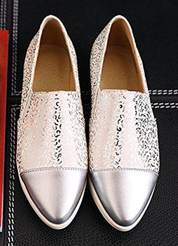 Aisun Femmes Élégant Décontracté Élastique Bas Haut Bout Pointu Semelle Épaisse Slip Sur Mocassins Plateforme Espadrilles Chaussures Chaussures Blanc