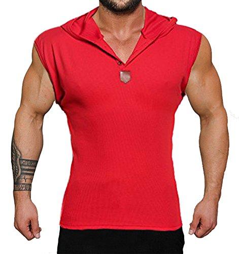 JINIDU Mens Tank Tops Workout Hooded Bodybuilding Sleeveless Gym Muscle T Shirt