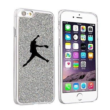 (For Apple iPhone 6 6s Glitter Bling Hard Case Cover Female Softball Pitcher (Silver))