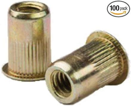 AELS8-580-5.7 100 PK Zinc YLW Steel LG FLNG HD 3.30-5.70mm GR RIVETNUT M5x0.8 RND Body Splined