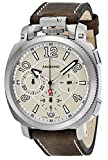 Anonimo Mens Military 43 MM Tan Face Brown Leather Strap Chronograph Swiss Mechanical Watch AM110001001A01