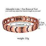 Feraco Copper Bracelet for Women Men Arthritis Pain Relief 99.99% Solid Copper Magnetic Therapy Bracelet with Strong Magnets