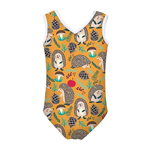 FOR U DESIGNS Girls One Piece Swimsuits Animal Hedgehog Printed Swimwear Beach Bathing Suit 9-10 Years -