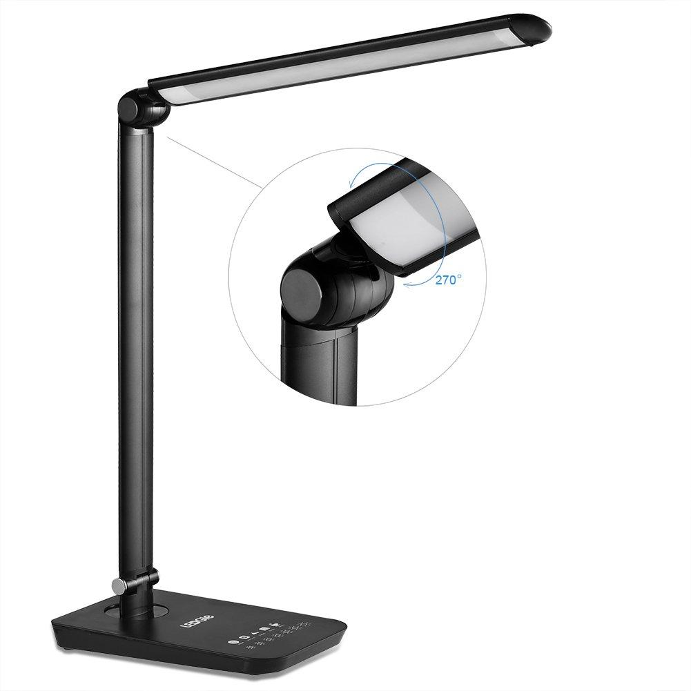 LEDGLE 9W Luci di Lettura pieghevoli della Lampada da Tavolo LED Luci Sensibili di Controllo del Tocco, 7 Modi di Luminosità Registrabili, 4 Modi di Funzionamento, Disegno rotativo, Grande pannello del LED-Nero [Classe di efficienza energetica A+++]