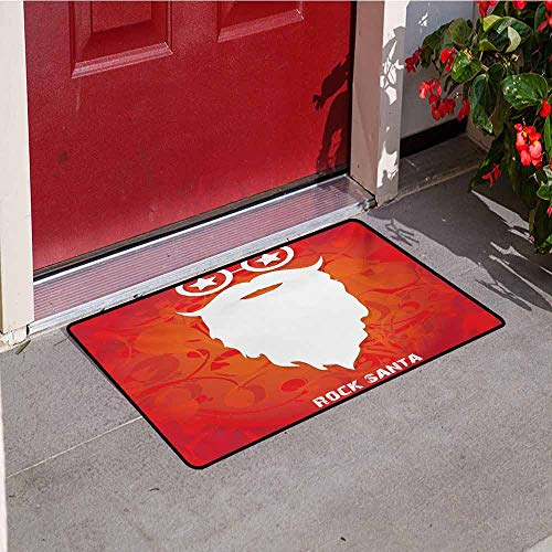 Betty Boop Round Glass - Jinguizi Indie Inlet Outdoor Door mat Rock Santa Claus Christmas Theme Beard Silhouette and Round Glasses with Stars Catch dust Snow and mud W19.7 x L31.5 Inch Red Orange White