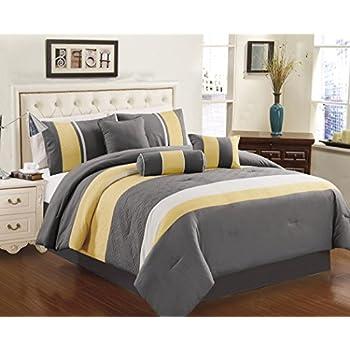 Serenity Yellow & Grey Queen 10 Piece Comforter Bed In A Bag Set 85%OFF