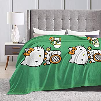 JIEKEME Flannel Blanket Hello Kitty Plying Tennis Soft Cozy Warm Throw Blanket for Bed Couch Chair Fall Winter Spring Living Room