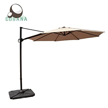 High Quality COBANA 10 Feet Octagon Cantilever Patio Umbrella With Vertical Tilt And  Cross Base In Beige
