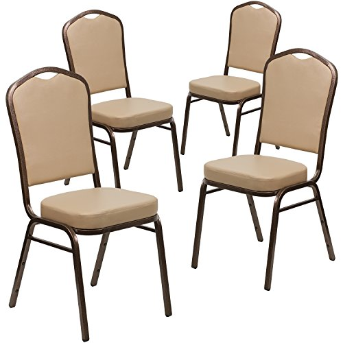 Flash Furniture 4 Pk. HERCULES Series Crown Back Stacking Banquet Chair in Tan Vinyl - Copper Vein Frame (Hospitality Chairs Dining)