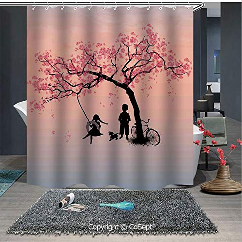 Classic Nantucket Swing - SCOXIXI Home Decor Shower Curtain,Children Playing on a Tire Swing Under Cherry Tree with Dog Blossom Spring Art,for Master,Kid's,Guest Bathroom,Standard(70.86