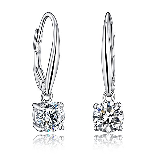 Sterling Silver Dangle Drop Lever Back Earrings With Two 6.0mm/1.45ct Hearts & Arrows Cutting Simulated Diamonds
