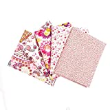 """RayLineDo 10 Pcs Different Pattern Multi Color 100% Cotton Poplin Fabric Fat Quarter Bundle 18"""" x 22"""" Patchwork Quilting Fabric Yellow and Pink Series"""