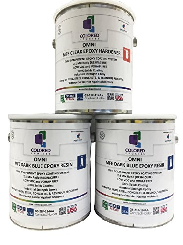 Coloreedepoxies 10017 Dark Blue Epoxy Resin Coating Made with Beautiful and Vibrant Pigments, 100% solids, For Garage Floors, Basements, Concrete and Plywood. 3 Gallon Kit