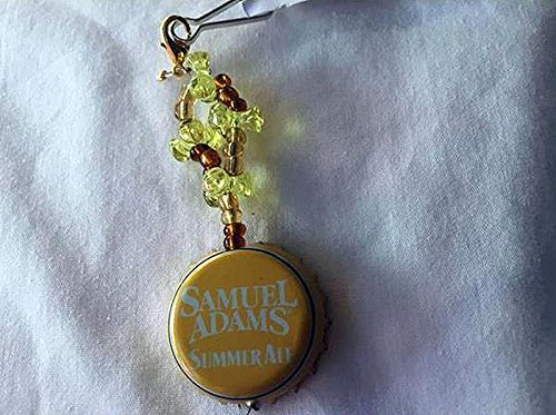 (Samuel Adams Summer Ale Yellow White and Light Yellow Tribead Upcycled Bottlecap Keychain)