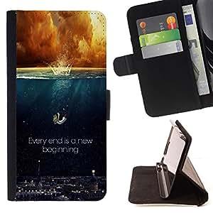 BullDog Case - FOR/Sony Xperia Z1 Compact D5503 / - / EVERY END IS A NEW BEGINNING /- Monedero de cuero de la PU Llevar cubierta de la caja con el ID Credit Card Slots Flip funda de cuer