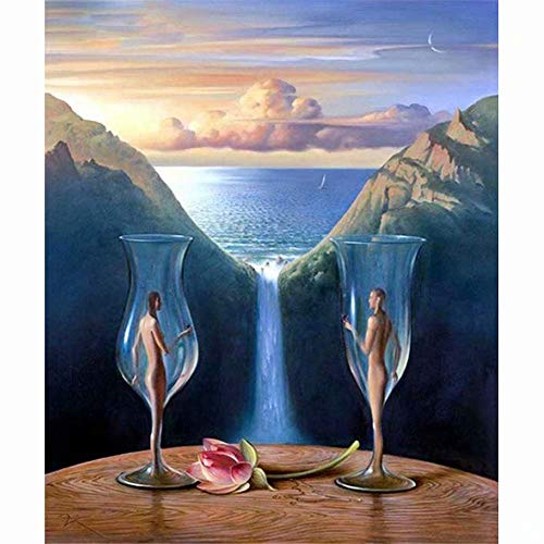 (Diy Oil Painting, Paint By Number Kits -Naked Woman Wine Glass Waterfall,16X20 Inch )