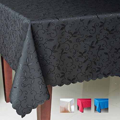Turkish Rectangle Black Tablecloth Polyester Table Cover - Stain Resistant Non-Iron Dust-proof Oblong Square Round - Table linen Thanksgiving Christmas New Year (BLACK, Rectangle 60