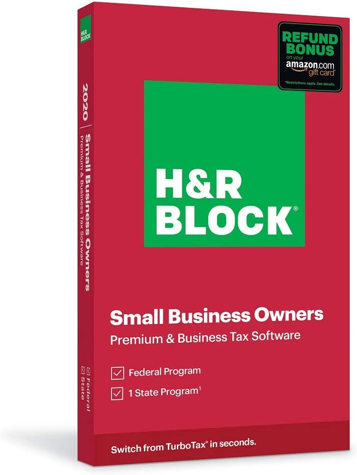H&R Block Tax Software Premium & Business 2020 with Refund Bonus Offer (Amazon Exclusive) (Physical Code by Mail)