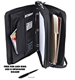 Padfolio 3-Ring Binders, Folder File Divider Organizer Planner w/Smart Handle, Briefcase Luggage Portfolio (1.5'' Inches Ring - Bigger)