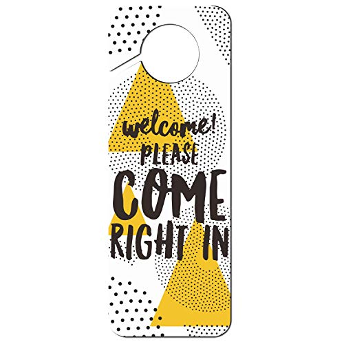 Uxipec937 Funny Offices Hotels Bedroom Door-Hanger Welcome Come On in Door Knob Hanger Sign Suitable for Massage Clinics Spa and Other Special Situation ()