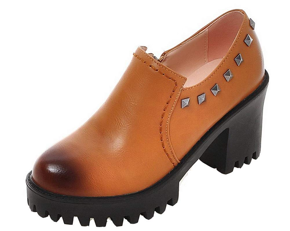 AalarDom Femme à Talon Haut PU Cuir Chaussures Couleur Femme 16747 Unie Zip Rond Chaussures Légeres, TSFDH005719 Brun d850421 - shopssong.space