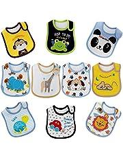 FUTURE FOUNDER Baby Lätzchen Mädchen/Junge Wasserdicht Weich 10er Baumwolle Halstücher mit süßen Motiven in unterschiedlichen Farben für Baby