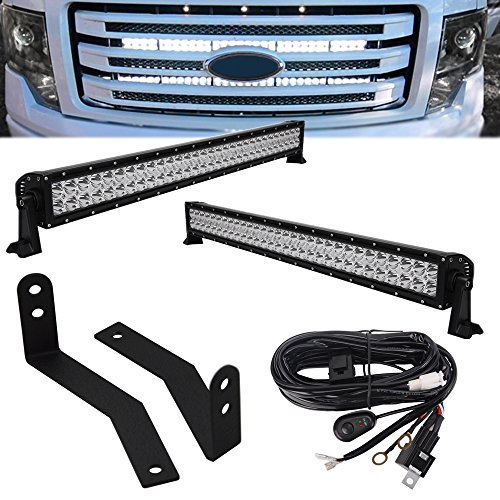 (2pcs 30-inch 180W LED Light bars w/Wiring Kit & Front Lower Bumper Hidden Grille Mounting Brackets for 2009-2014 Ford F-150 )