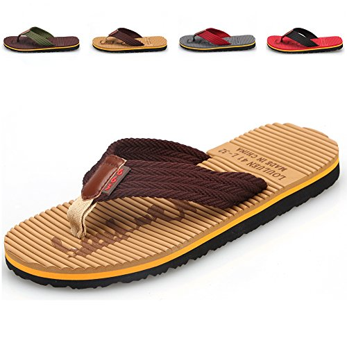 CIOR Men's Handmade Fashion Beach Slipper Indoor and Outdoor Classical Flip-flop Thong Sandals