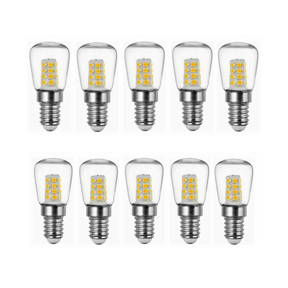 NANGE 2W E14 Led Bulbs,Refrigerator LED Bulb,AC220V Bright Indoor Lamp for Fridge Freezer Crystal Chandeliers Lighting Lights Bulbs,10-Pack (Color : Warm White)