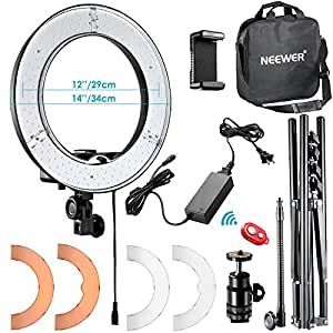 """Neewer RL-12 LED Ring Light 14"""" outer/12 on Center with Light Stand, Soft Tube, Filter, Carrying Bag for Makeup, YouTube, Camera/Phone Video Shooting"""