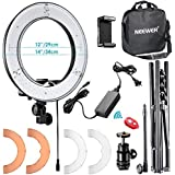 "Neewer RL-12 LED Ring Light 14"" outer/12 on Center with Light Stand, Soft Tube, Filter, Carrying Bag for Makeup, YouTube, Camera/Phone Video Shooting"